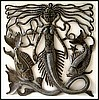 Mermaid Metal Wall Decor - Metal Art of Haiti - Haitian Steel Drum Art - 17""