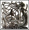 Mermaid Metal Art Wall Decor - Haitian Steel Drum Metal Design - 17""