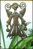 "Angel Decorative Metal Plant Stick - Garden Decor - Haitian Recycled Steel Drum - 8"" x 14"""
