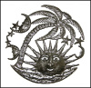Sun Metal Art Wall Hanging - Outdoor Metal Art - Haitian Steel Drum Wall Art -24""