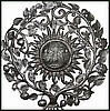 Ornate Steel Drum Metal Art Sun Design - Haitian Oil Drum Wall Decor - 34""