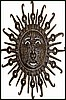 "Haitian Metal Art Face Design - Decorative Sun Wall Hanging - 24"" x 34"""