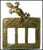 Metal Switchplate Cover - Gecko Design - Iridescent Switch Plate - Triple Light Switch
