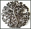 Birds in Tree of Life Metal Wall Hanging - Handcrafted Haitian Metal Drum Art - Metal Sculpture - 24""