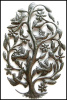 "Birds, Haitian Steel Drum Metal Art, Metal Wall Decor, 18"", Metal Wall Art, Birds in Tree, Metal Wall Hanging"