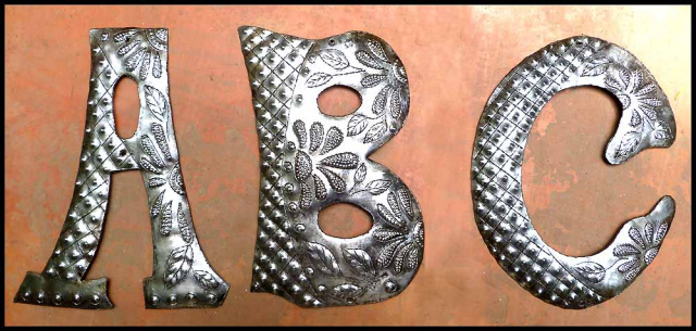 haitian steel drum decorative letters