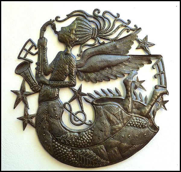 Preferred Angels - Haitian Steel drum metal art wall decor YG72