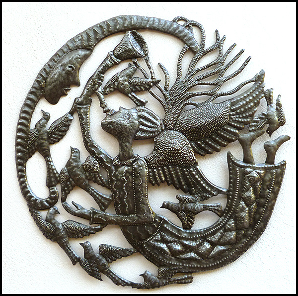 Haitian metal art wall hanging - angel