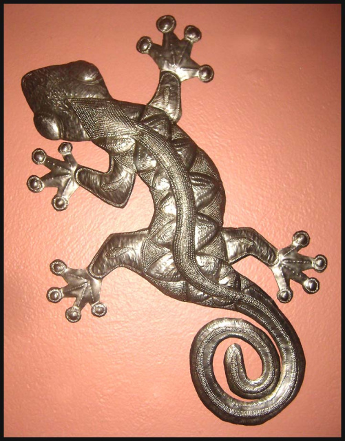 Gecko Wall Hanging Handcrafted Recycled Steel Drum Art 27 X 38