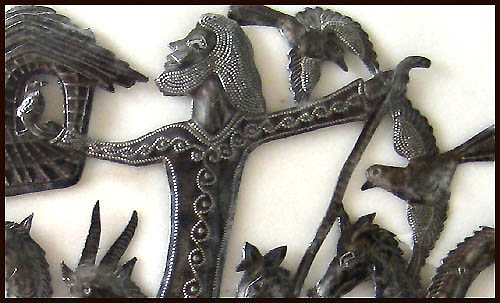 Close-up Noah's Ark Steel Drum Metal Art Sculpture