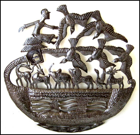 Noah's Ark with Flock of Birds - Haitian Metal Drum Art - 24