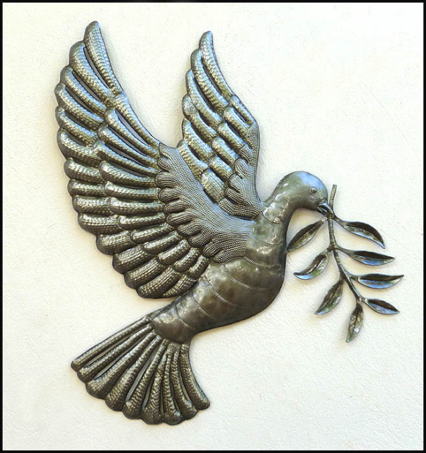 Dove with olive branch - Haitian steel drum art