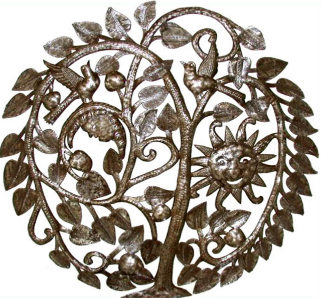 tree of life, metal wall hanging, Haitian steel drum metal art