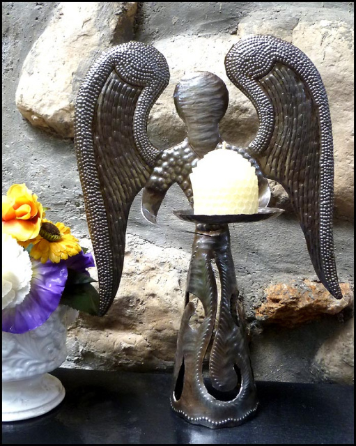 Metal candle holder - Angel Design - Haitian Recycled Steel Drum Art
