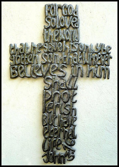 Metal cross wall hanging. Bible Scripture, Haitian metal art , steel drum