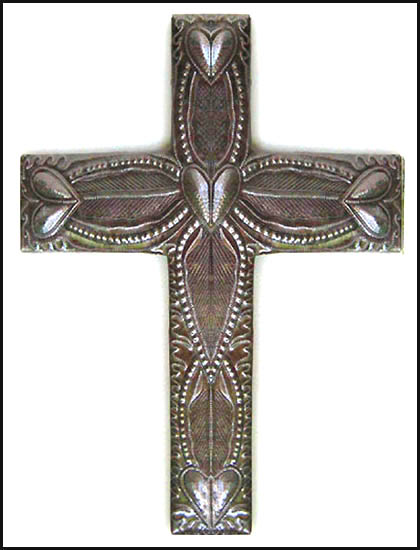"Large Decorative Metal Cross Wall Hanging - Made in Haiti - 18 1/2"" X 13 1/2"""