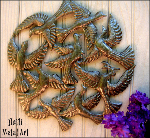 Birds wall hanging, Haiti Metal Art - Recycled steel drum art