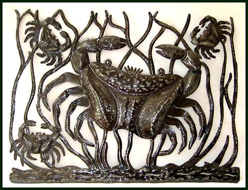 Decorative Crab Design Haitian Steel Drum Metal Art Work