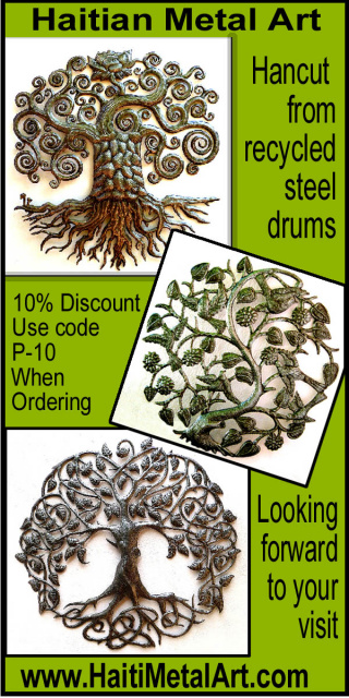 Handcrafted metal tree wall decor - Haiti Metal Art