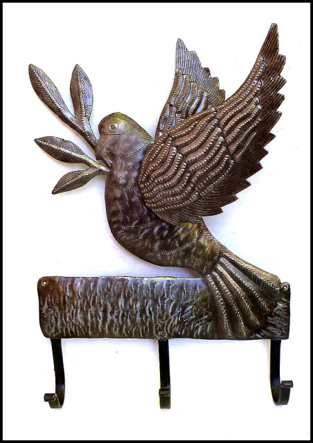 Metal Wall Hook - Haitian steel drum metal art - dove - bird