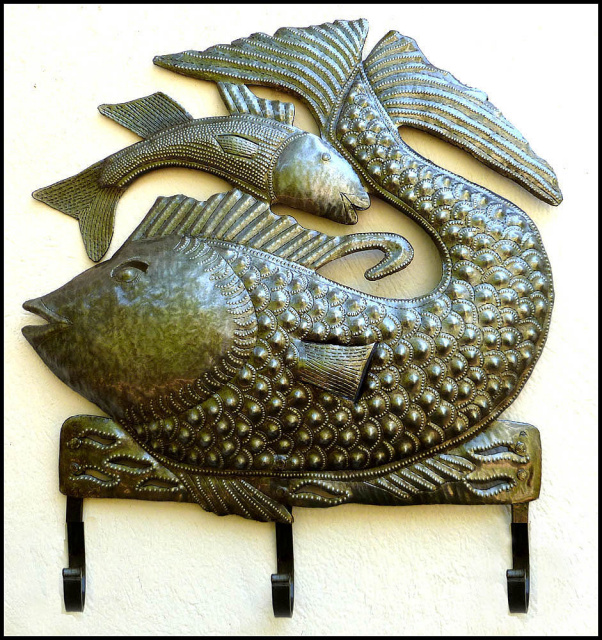 Haitian Metal Art Wall Hook - Recycled steel drum - fish