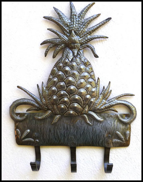 pineapple metal wall hook, Haitian metal art