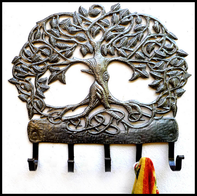 Metal wall hook, Metal Hook, Haitian steel drum art, Haitian art, Tree design