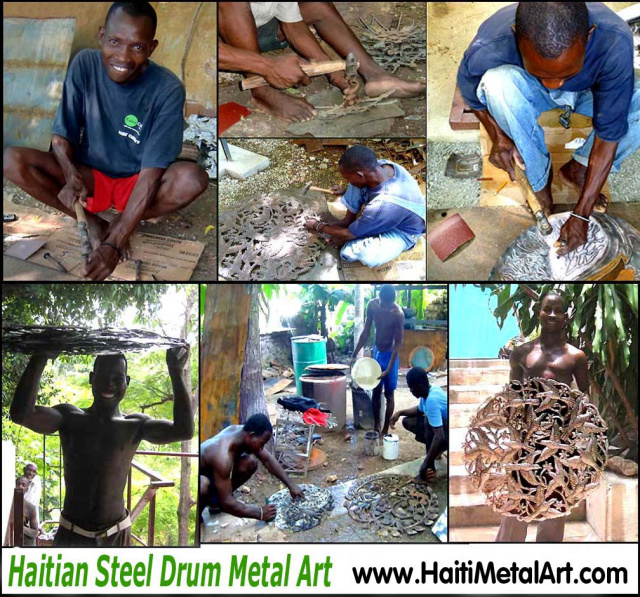 Haitian steel drum metal art