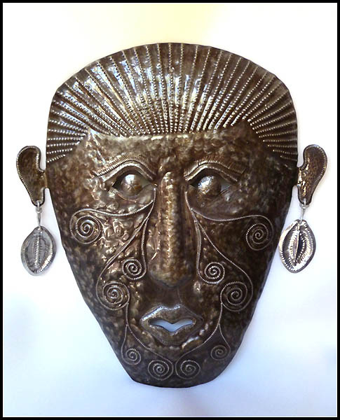 Haitian metal mask wall hanging