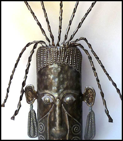 Haitian Metal Mask wall hanging - Steel drum metal art