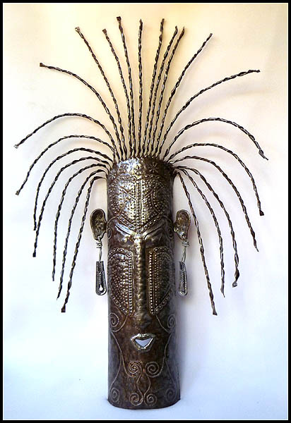 Haitian mask wall hanging - steel drum metal art