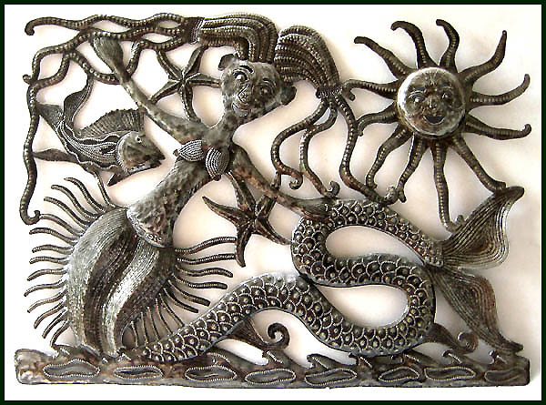 "Sun Bathing Mermaid - Handcrafted Metal Wall Hanging - 17"" x 24"""