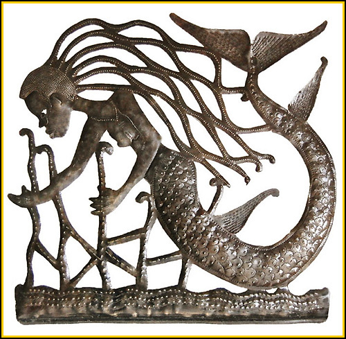 Mermaid metal wall art, Nautical decor, Haitian metal drum art