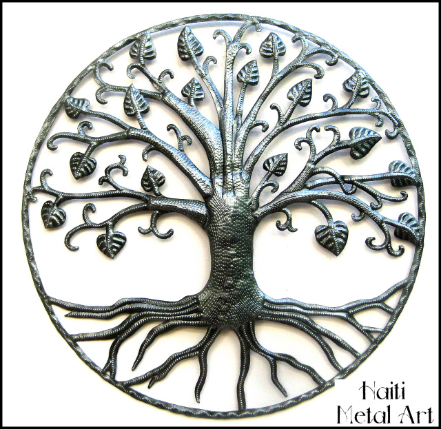 metal art tree wall hanging, Haitian metal art, Recycled steel drum