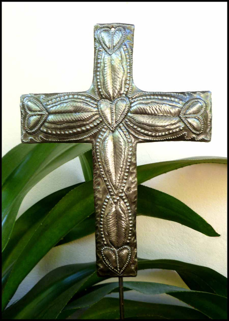 Metal cross plant stake - Haitian recycled steel drum garden art