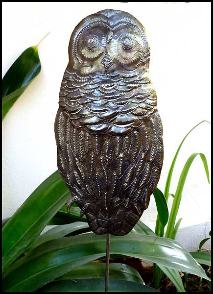 Owl metal garden plant stake. Hand hammered, recycled steel drum from Haiti.
