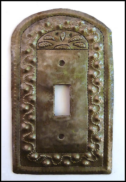 Decorative metal switchplate cover. Recycled Haitian steel drum art.