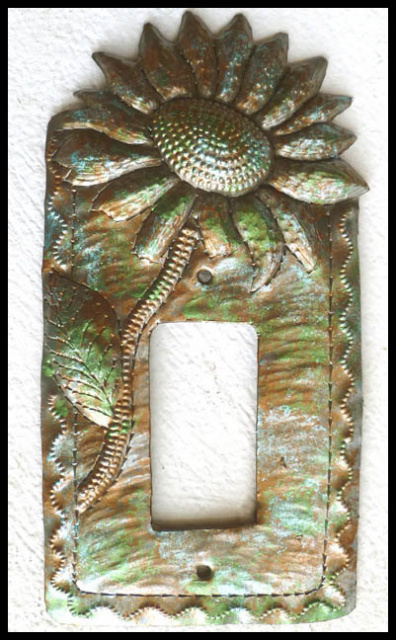 Handcrafted metal switchplate cover,. Sunflower design