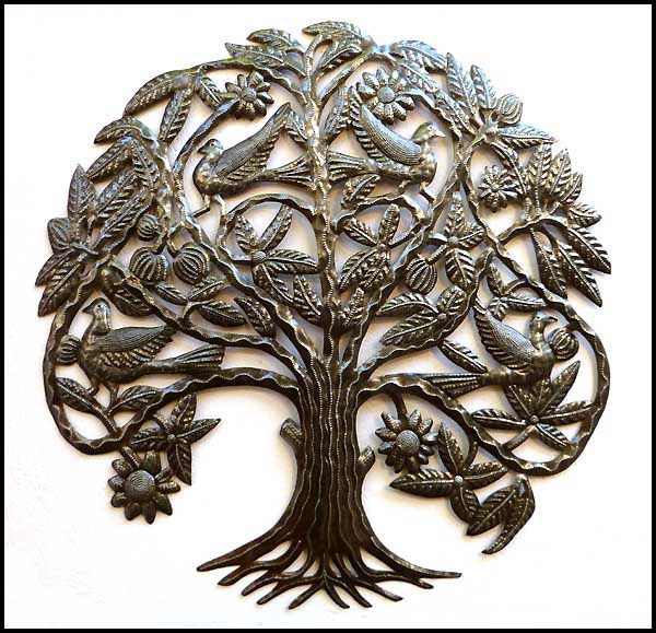 Metal Wall Hanging Art Tree And Birds Haitian Steel Drum View Images