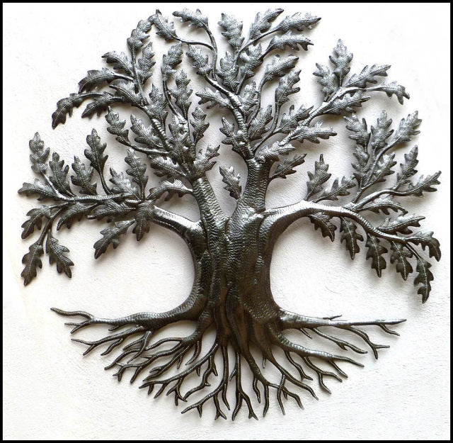 Haitian metal art tree wall hanging