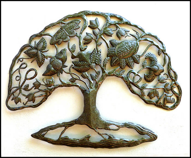 tree metal wall hanging - Haitian steel drum art.