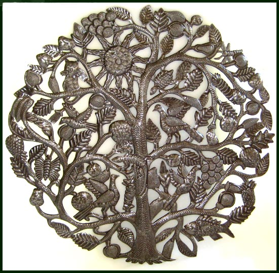 Large Tree Of Life Metal Wall Hanging Haitian Recycled Steel Drum Art
