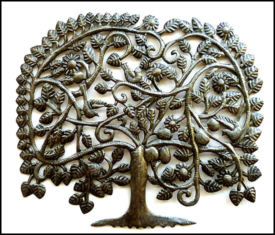 Decorative tree wall hanging. Haitian drum art. Haitian Recycled steel drum metal art