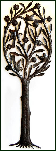 Decorative Tree Design - Haitian Metal Wall Art - Haitian Recycled steel drum metal art