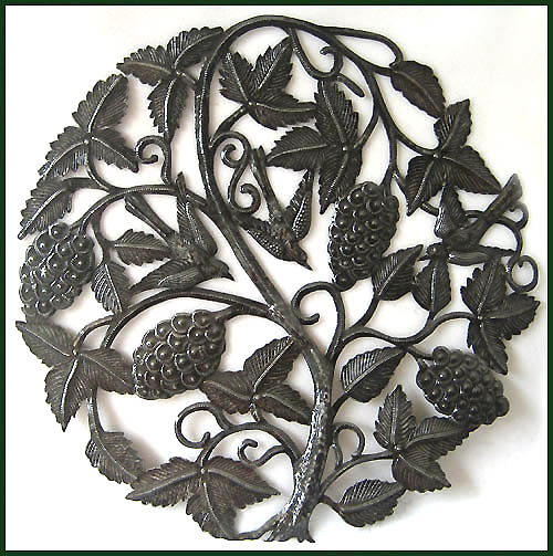 Grape Haitian metal art wall decor.
