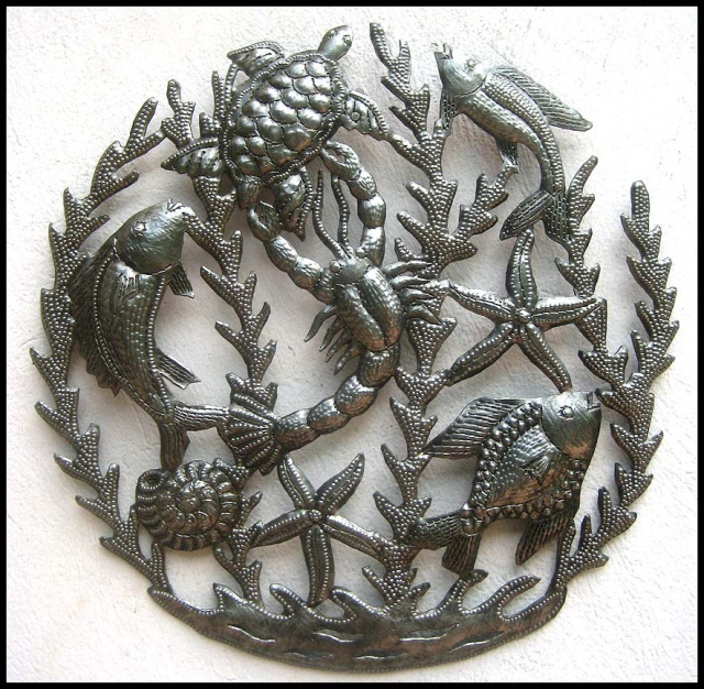 Haitian metal art, wall decor, sea life, nautical