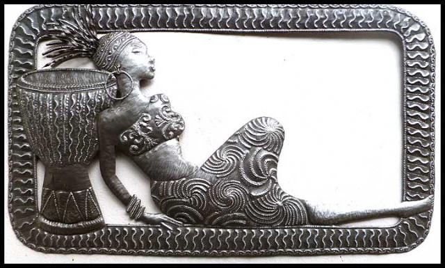 African woman - Haitian ethnic metal art