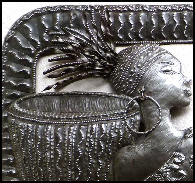African woman metal art wall hanging - Haitian steel drum art