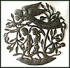 Adam & Eve Watched by an Angel - Haitian Metal Drum Bible Art - 24""