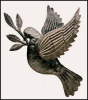 "Dove Metal Wall Hanging - Handcrafted Metal Art of Haiti - 10"" x 12"""